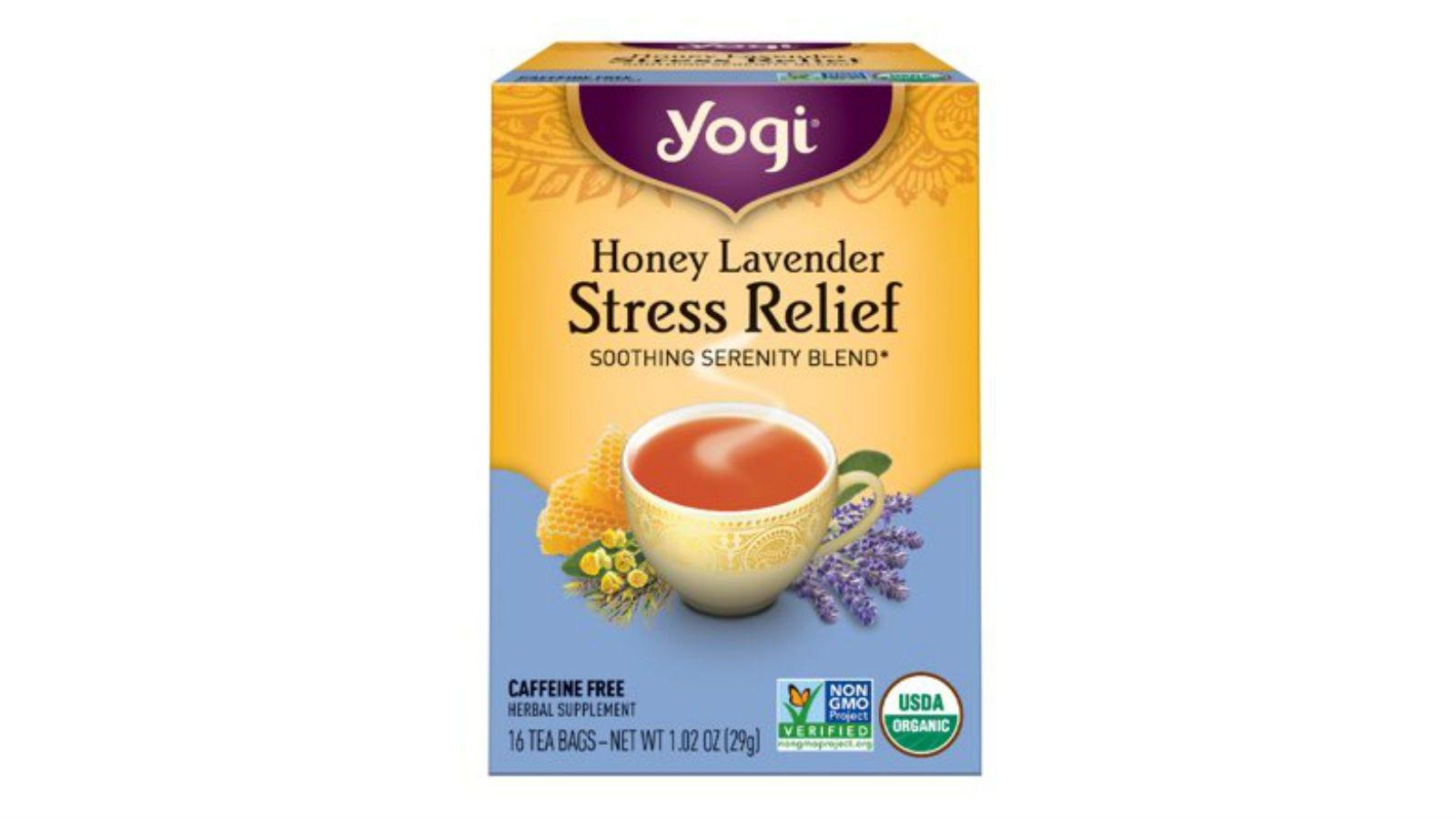 A box of Yogi Honey Lavender Stress Relief Tea.