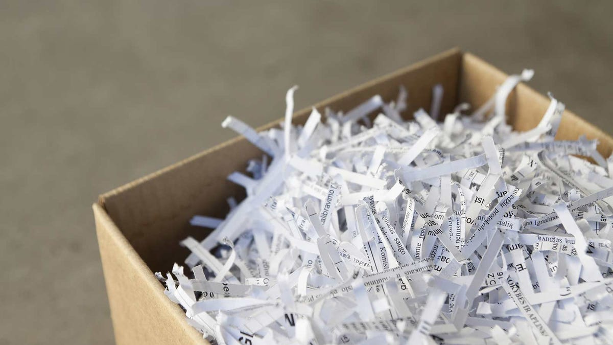 A box of finely shredded paper.