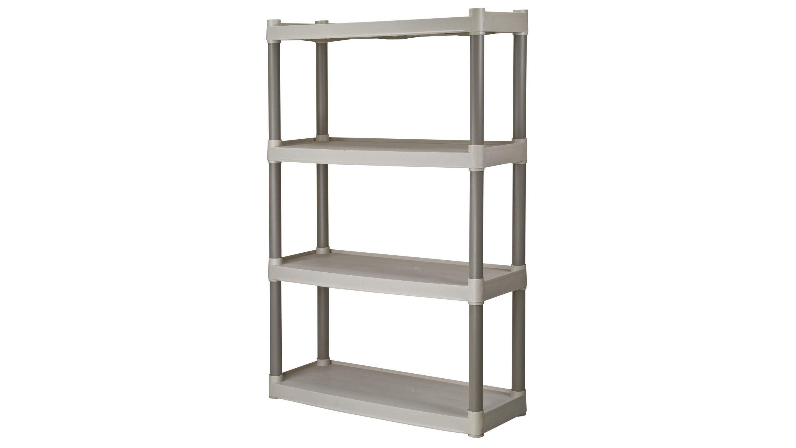 A Plano Molding Four-Shelf Garage Shelf.