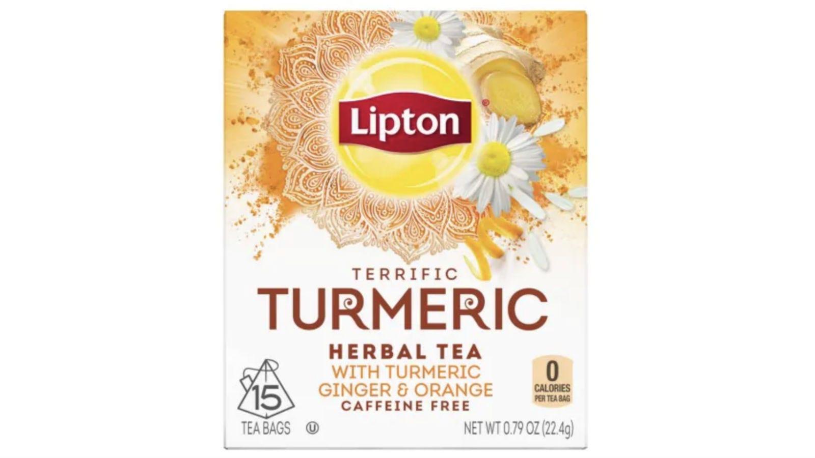 A box of Lipton Terrific Turmeric Tea.