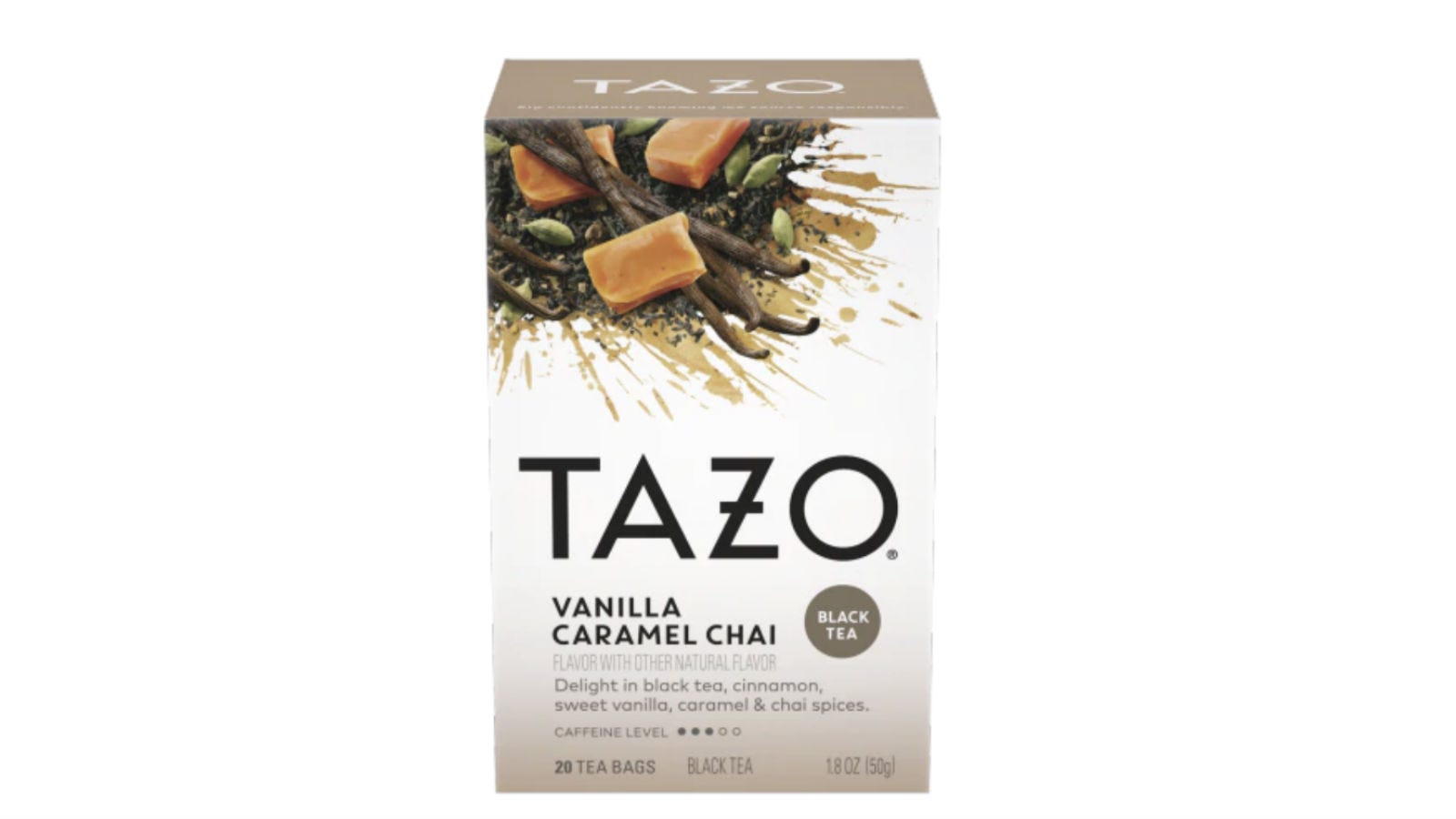 A box of Tazo Vanilla Caramel Chai Tea.