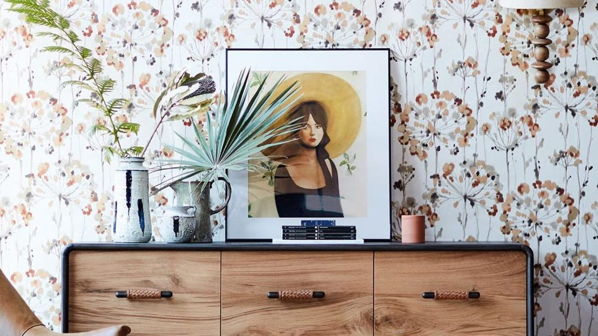 print wallpaper behind a dresser with plants and a framed illustration
