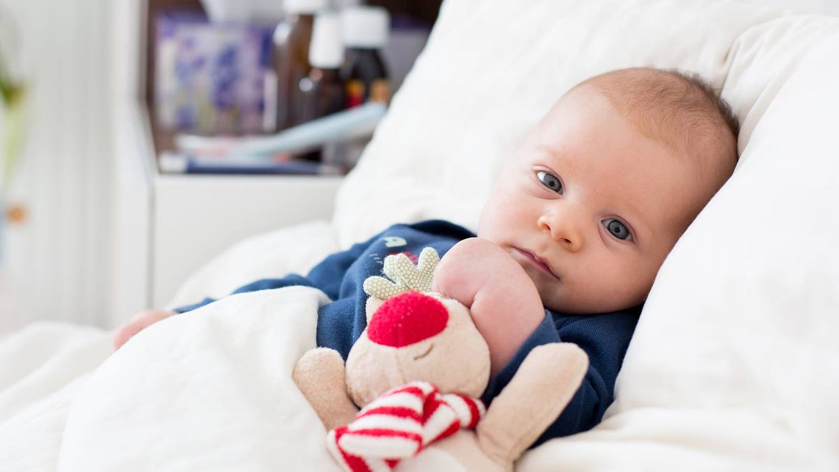A baby in bed with a stuffed animal.