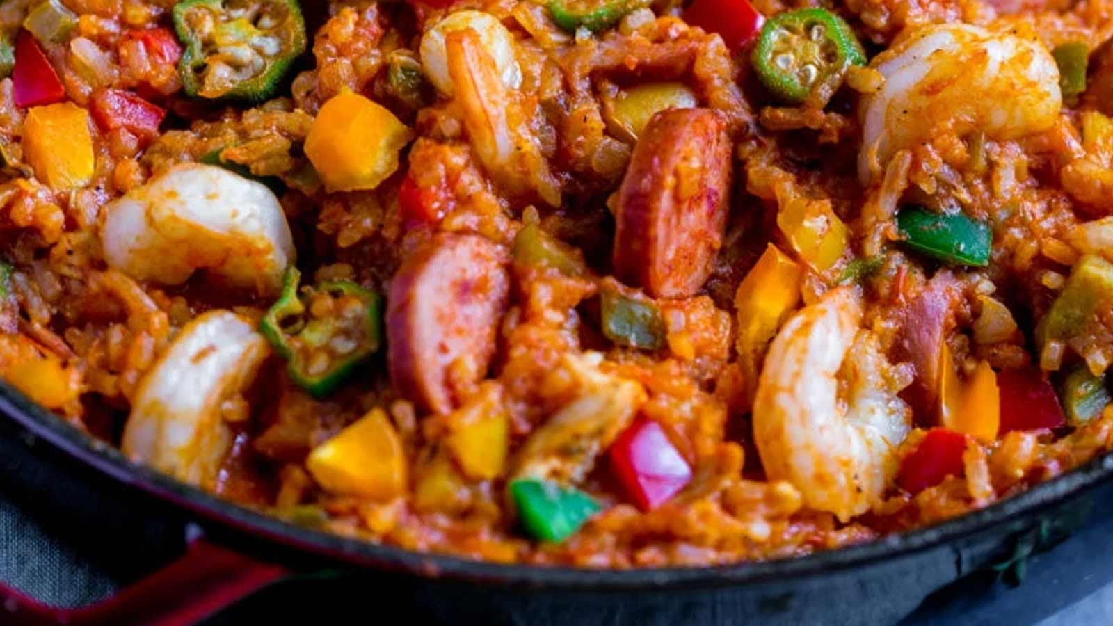 A serving of New Orleans Jambalaya on a plate.