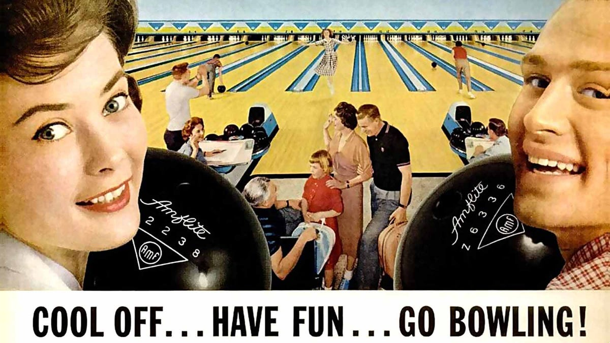 Vintage American Machine Foundry ad promoting bowling as a recreational sport.