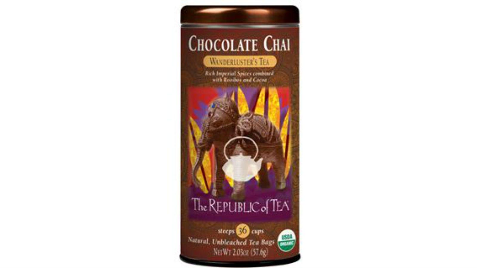 A tin of The Republic of Tea Chocolate Chai Tea.
