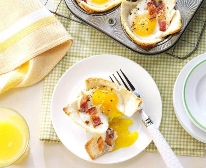 A plate of maple toast and eggs.