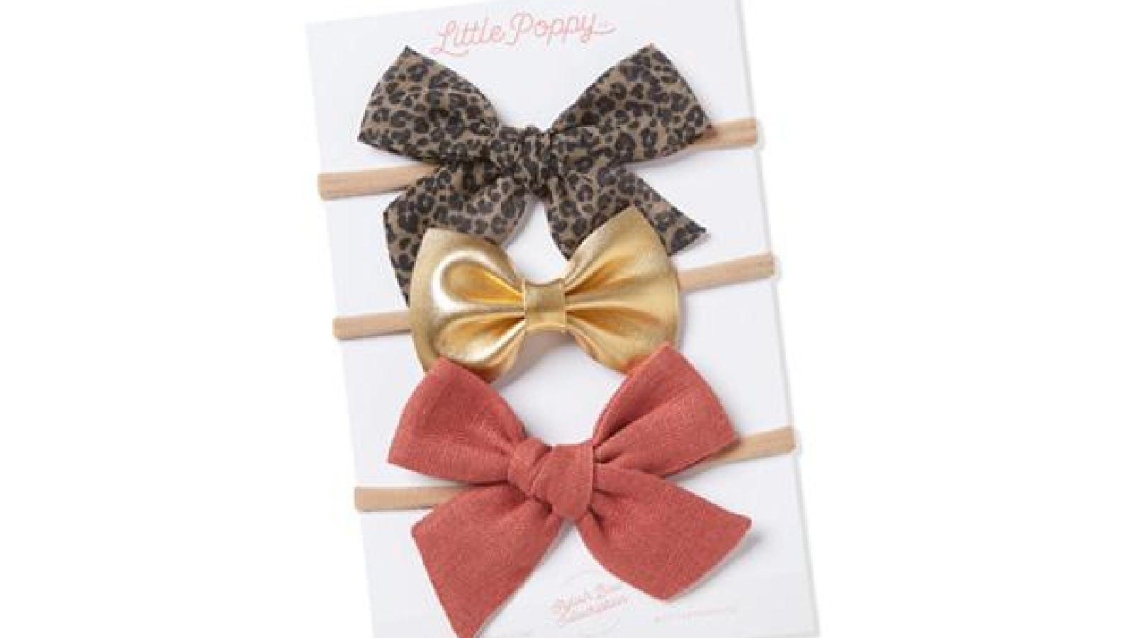 Three Little Poppy bow hair ties.