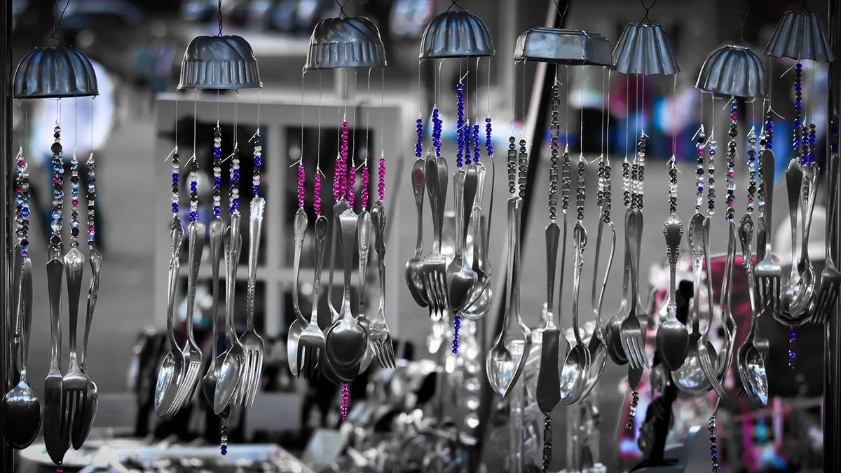 Wind chimes made from silverware.