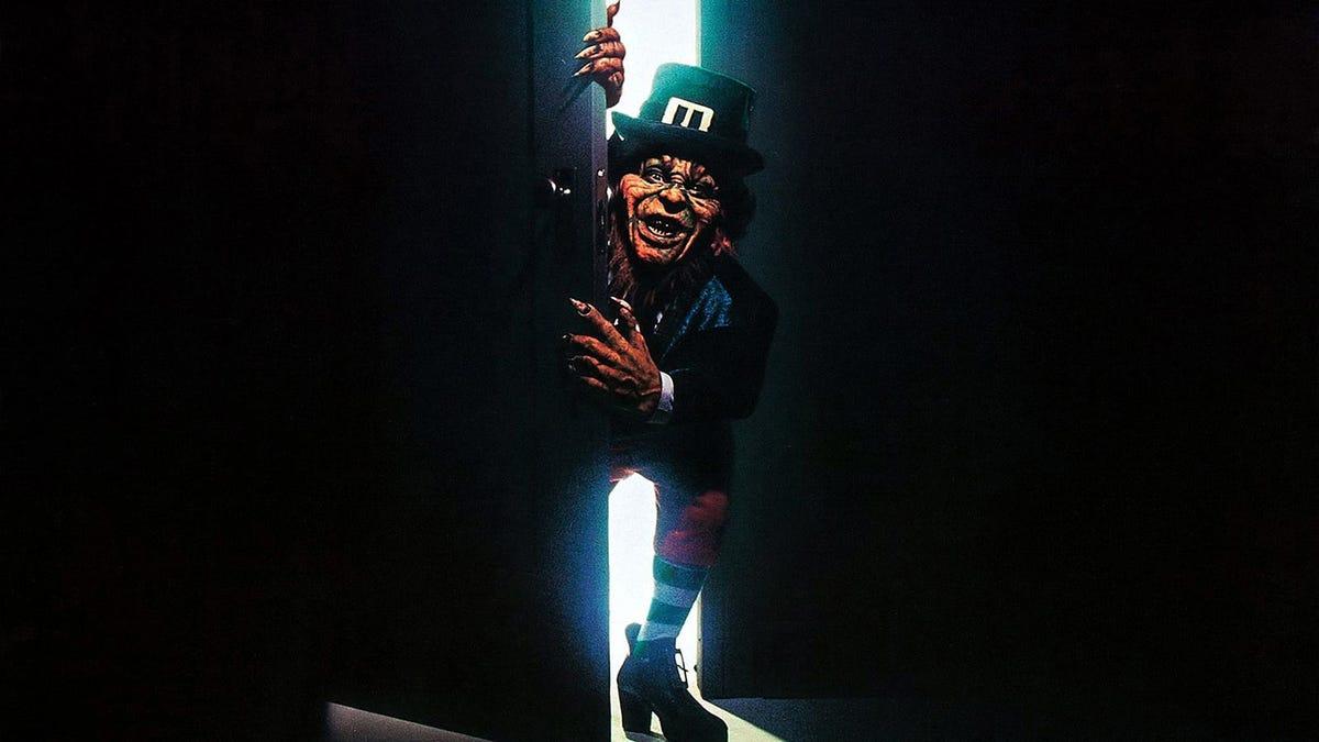 """The """"Leprechaun"""" promotional poster, depicting the Leprechaun peeking in from an open door."""