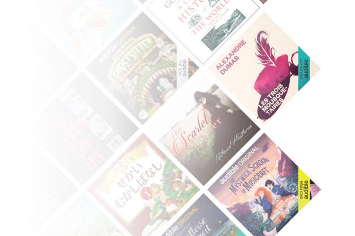 A mosaic of book covers from the Audible Stories service.