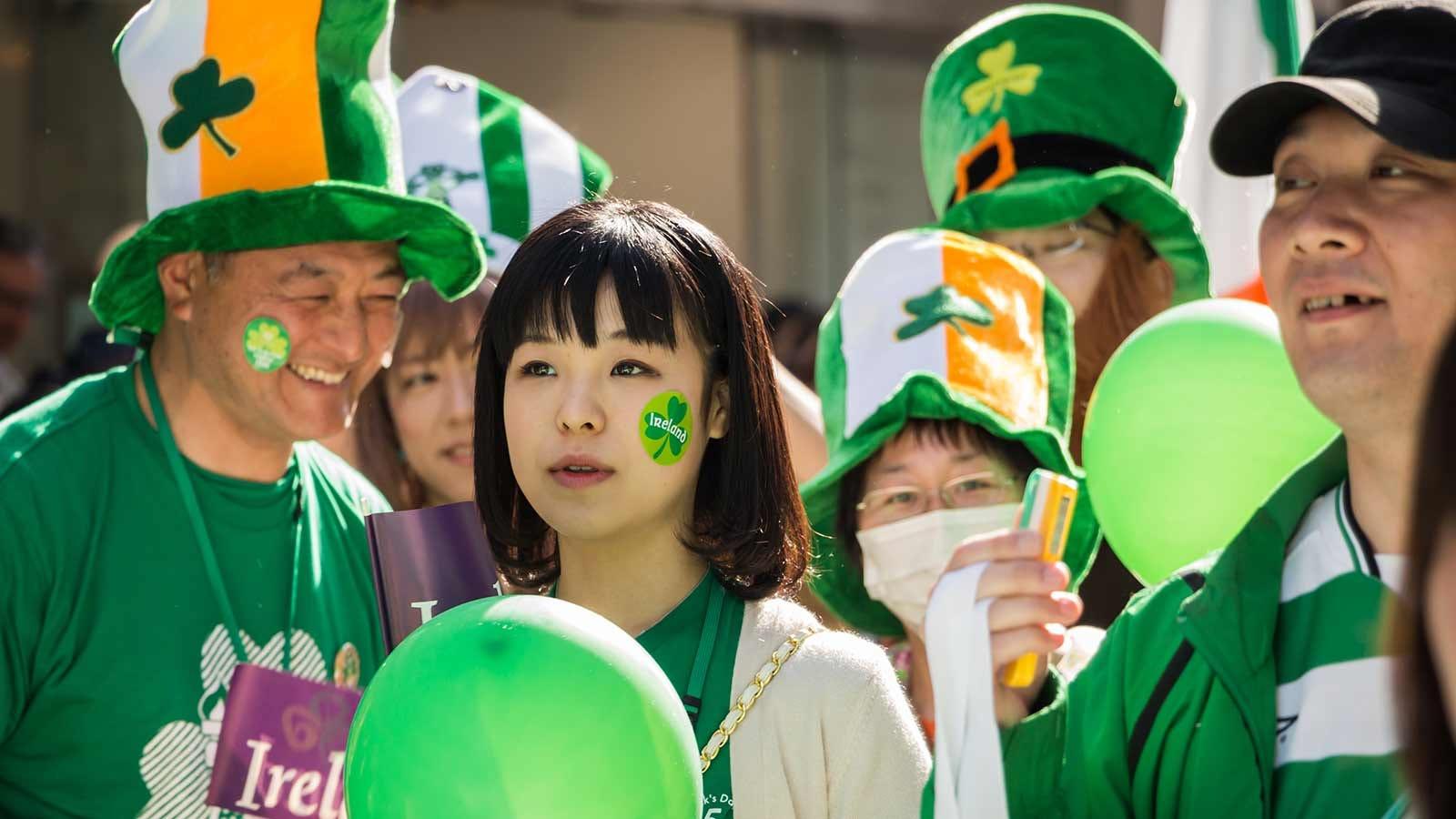 Japanese citizens celebrating St. Patrick's Day