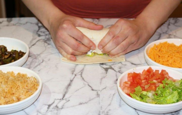 Rolling the burrito