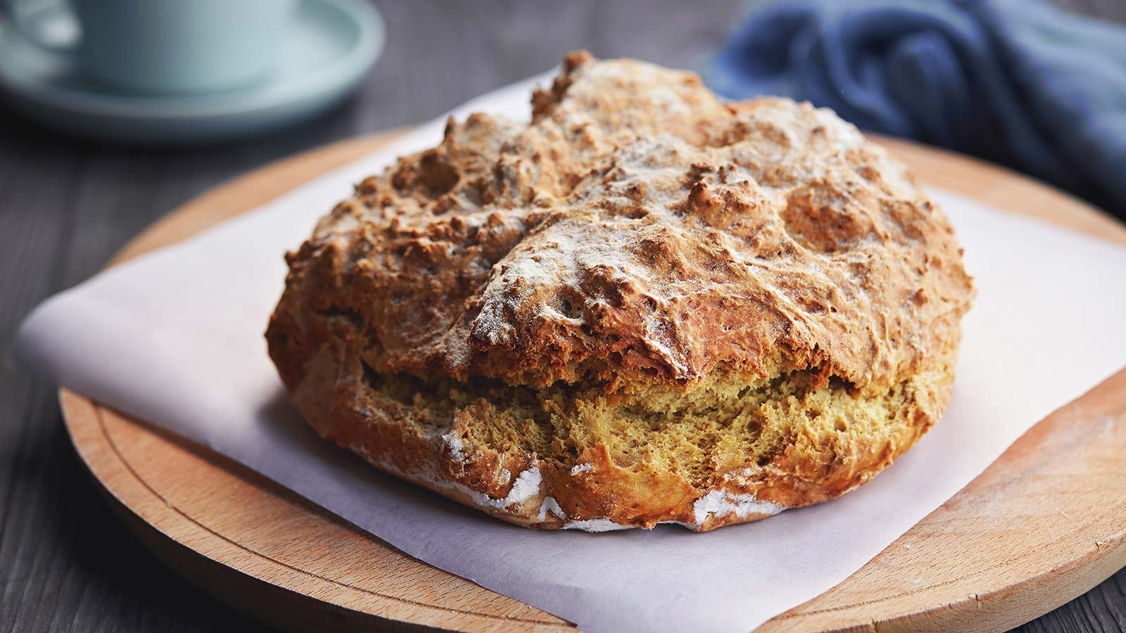Irish soda bread on a cutting board.