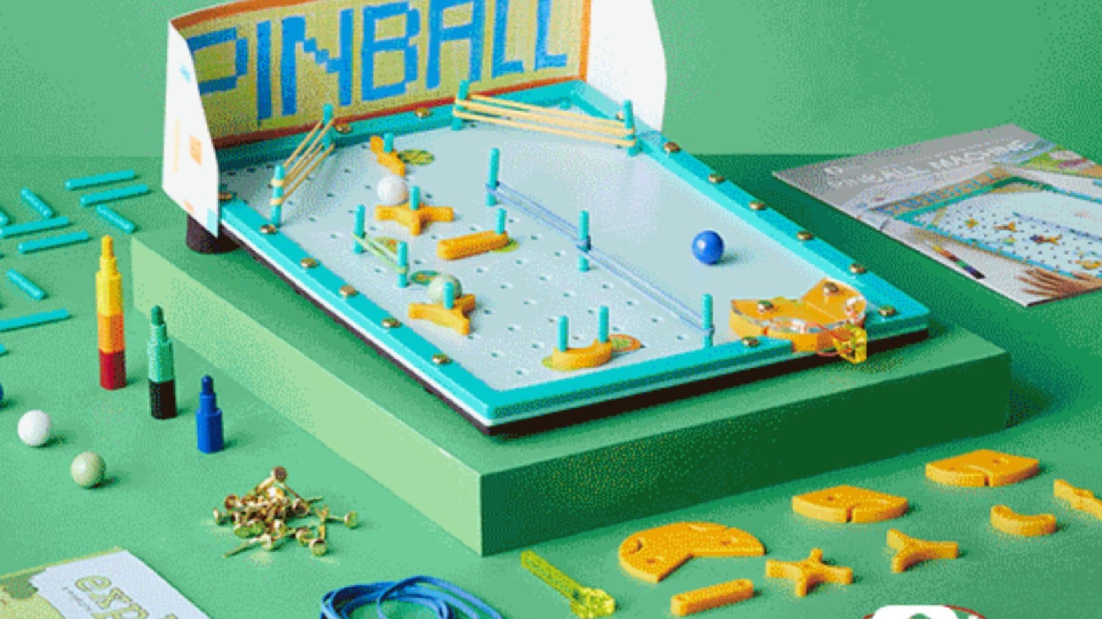 A Pinball machine made out of building blocks.