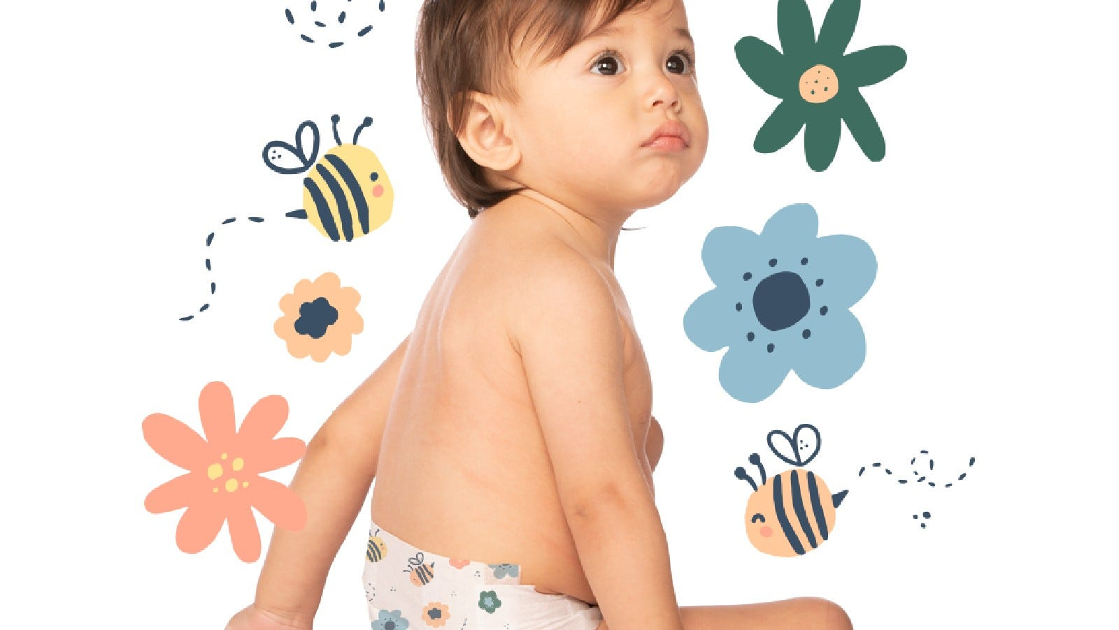 A toddler wearing a Hello Bello diaper.