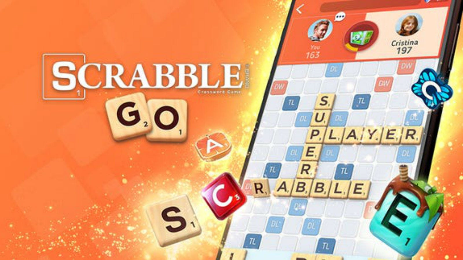 The Scrabble GO logo and game ad.