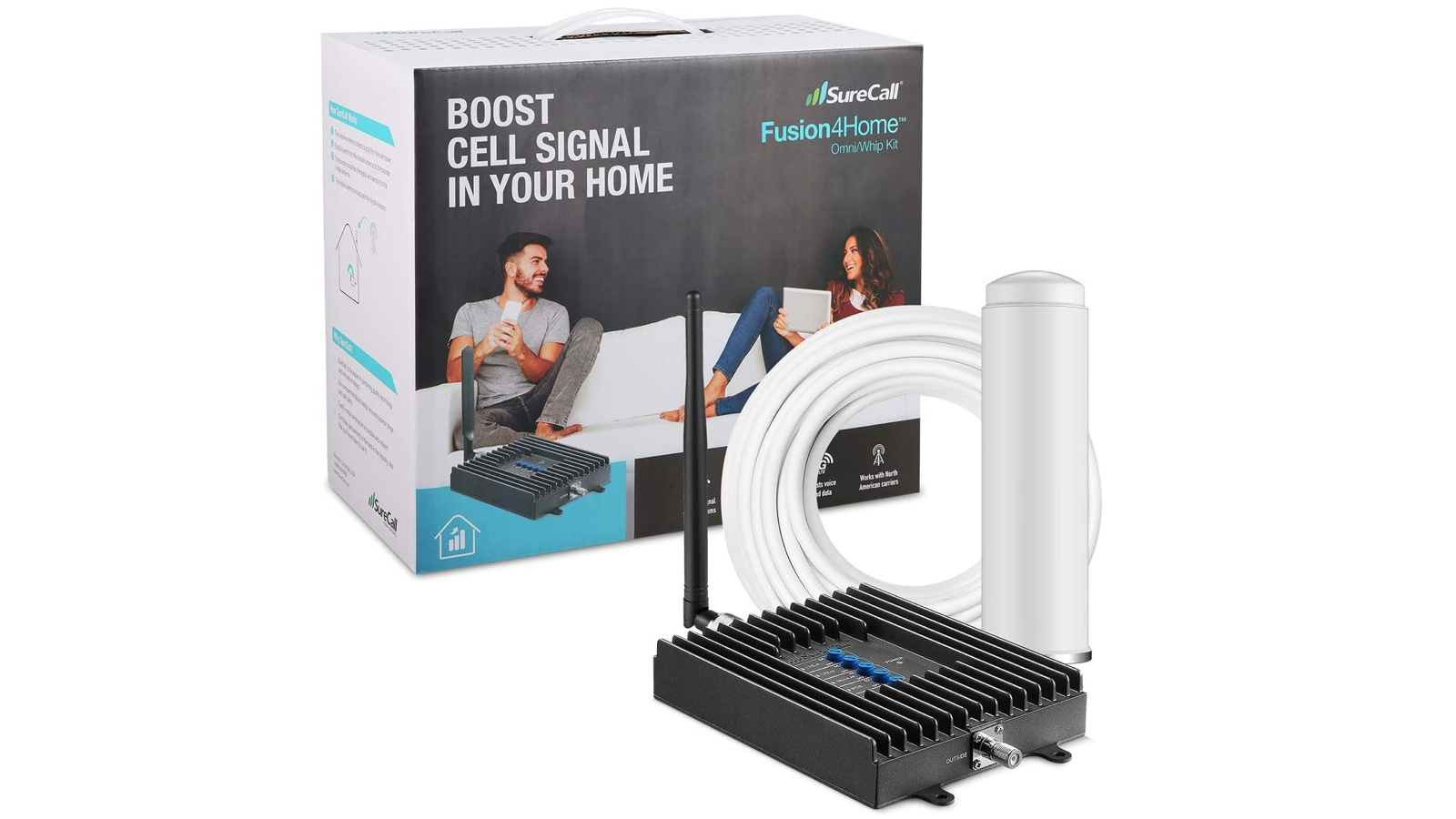 gray cell phone booster with a white cable and accessory beside their box