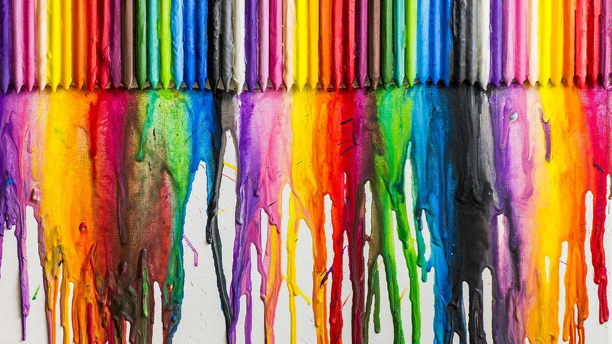Melted crayons on a canvas.