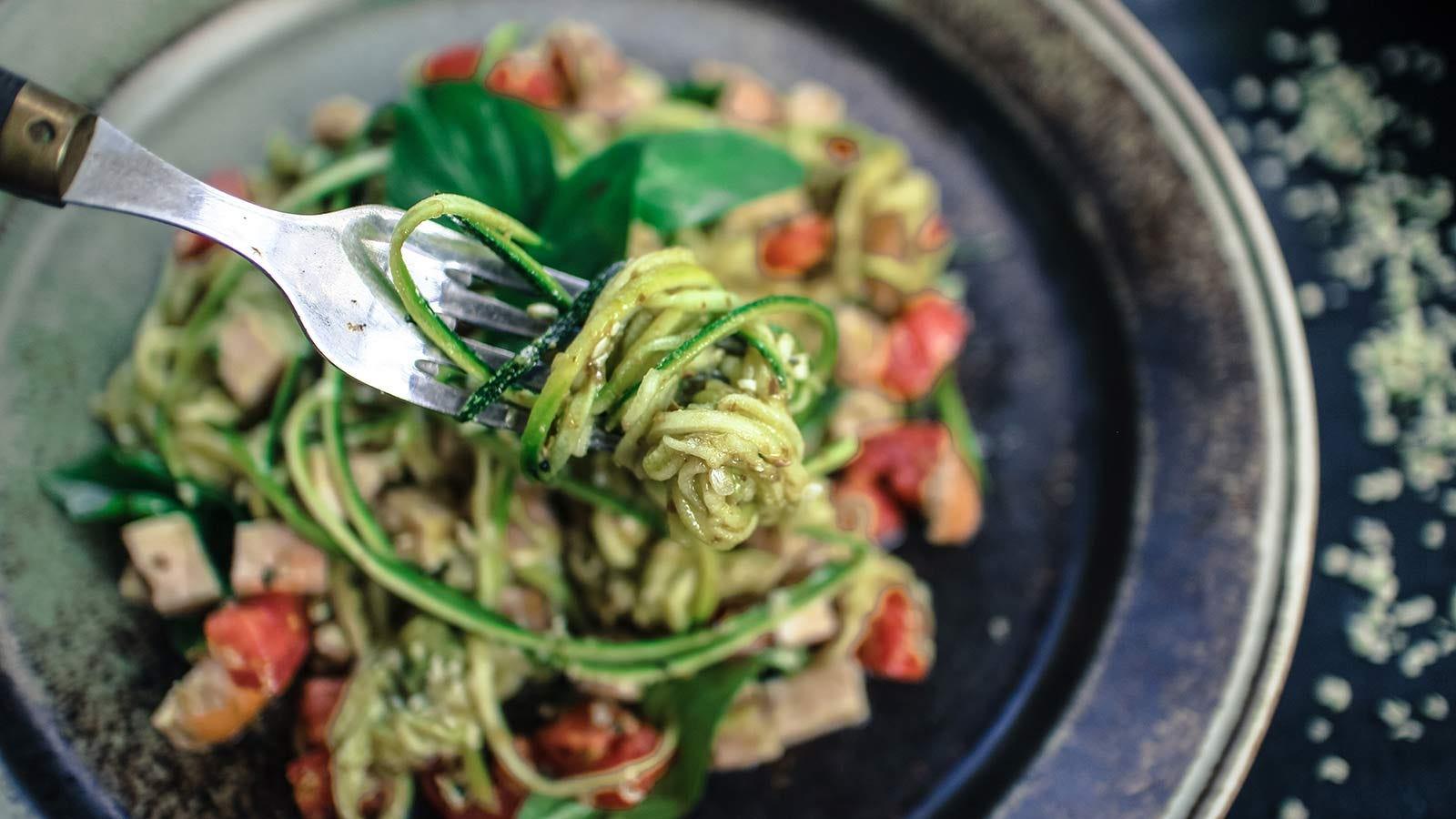 """A pot of """"zoodles"""", vegetable noodles."""