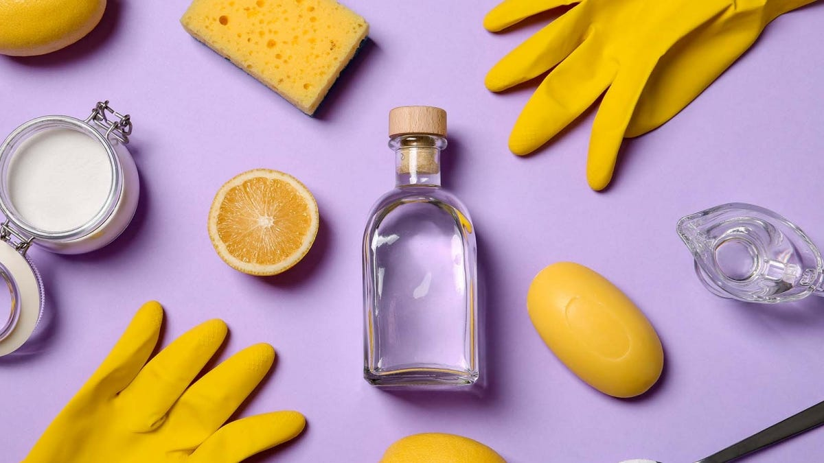 natural cleaning ingredients and yellow rubber gloves