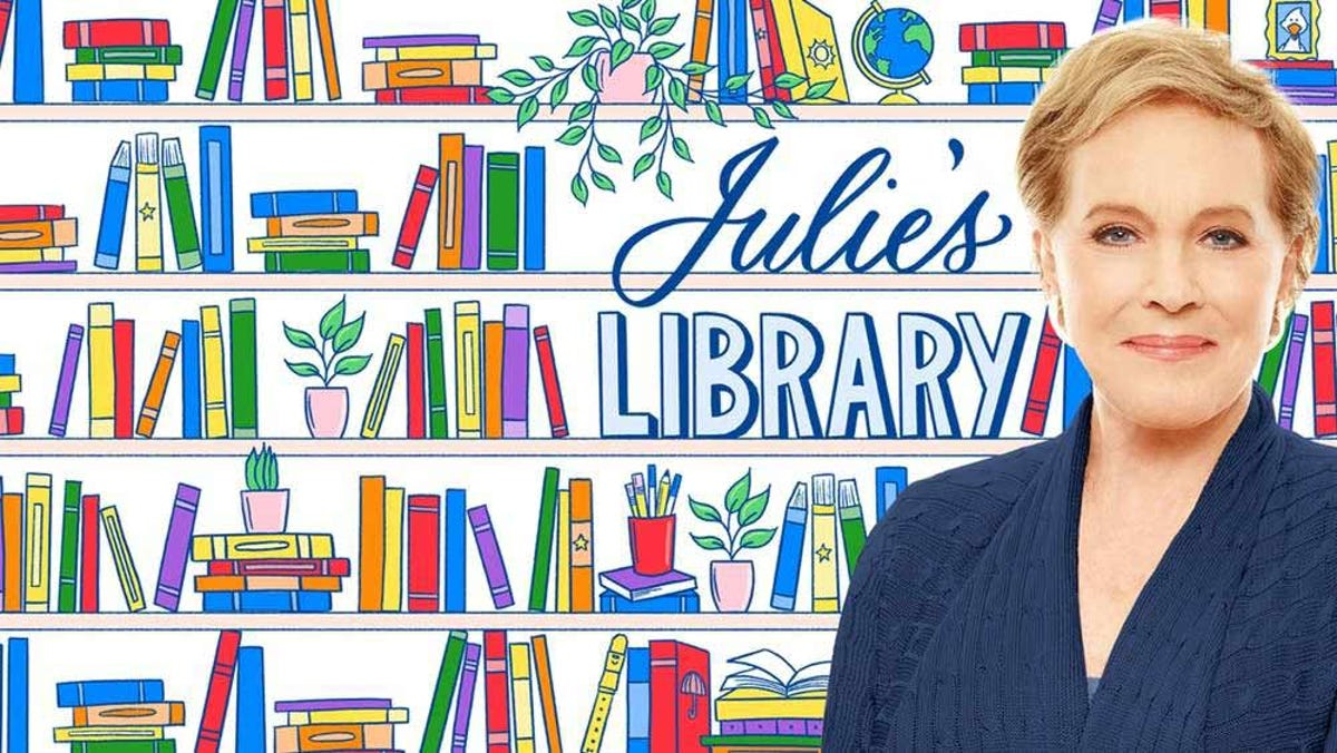 A splash image of Julie Andrews against a drawn background of books and shelves.