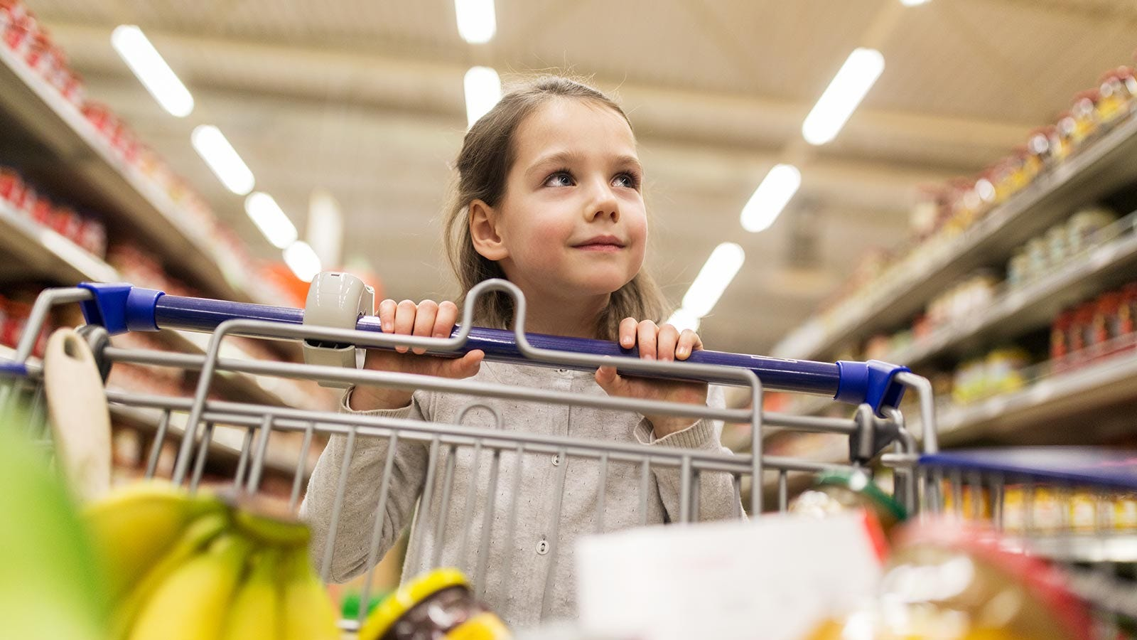 A young girl pushing a grocery cart in a store.