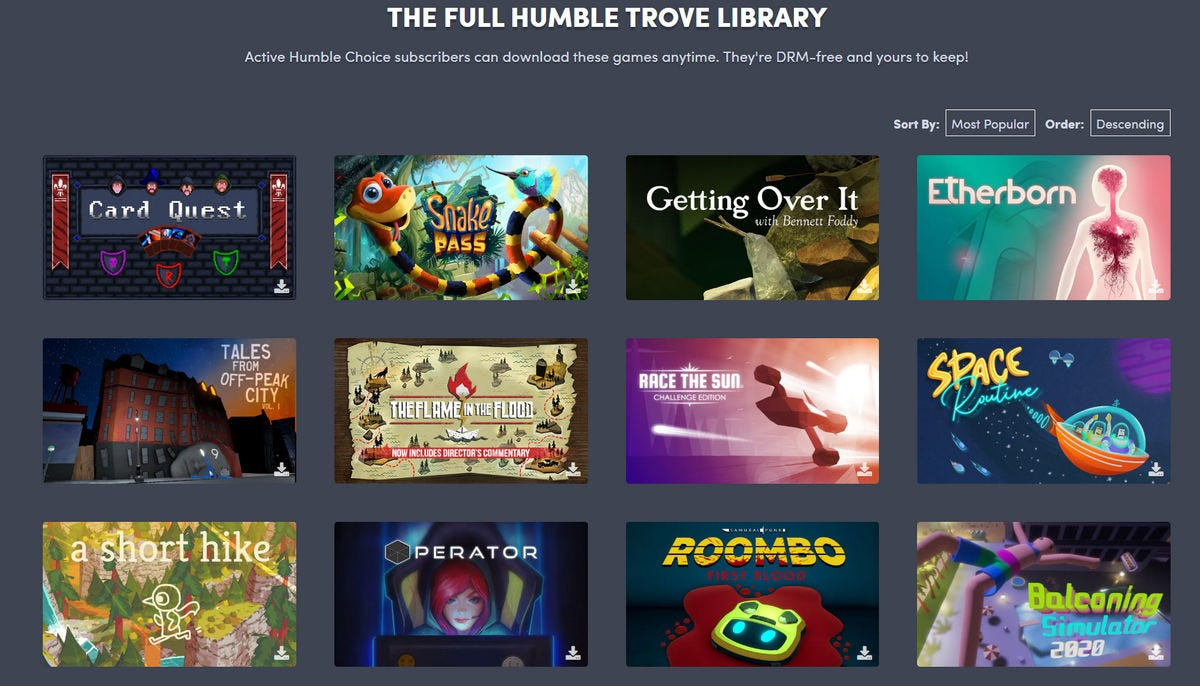 Examples of games from the Humble Trove library.