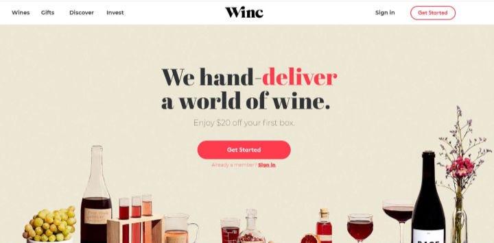 The Winc wine club website.