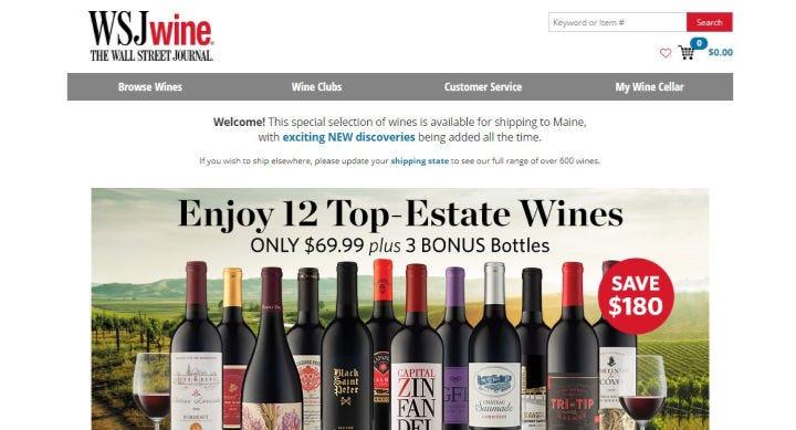 WSJwine website featuring its $70 bundle of 12 wines deal.