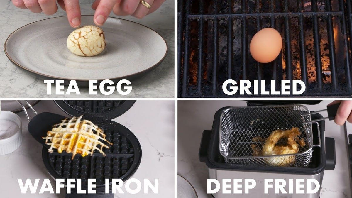 A splash image showing examples from the video of a tea egg, grilled egg, waffle iron egg, and deep fried egg.