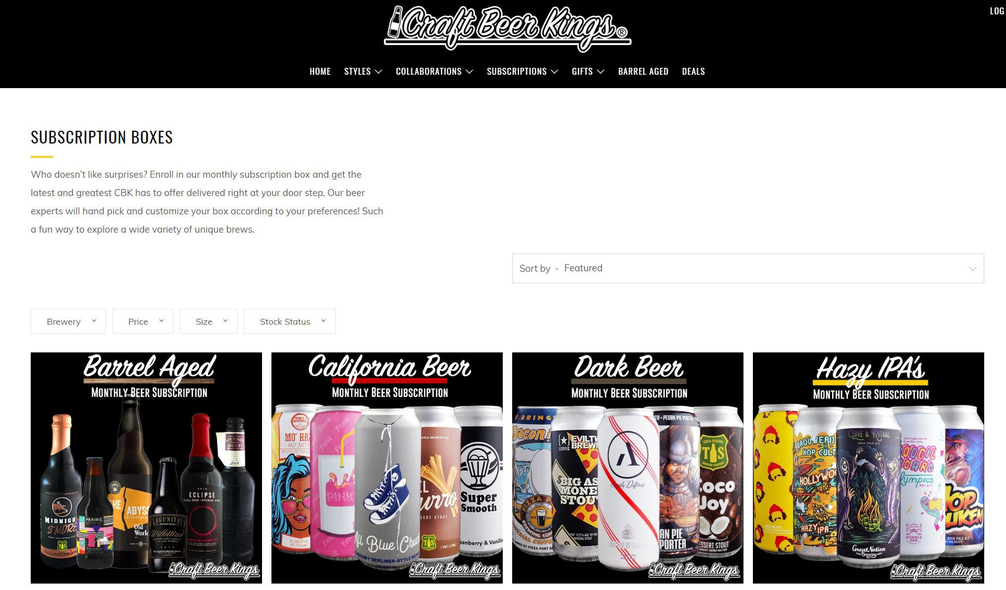 """The Craft Beer Kings """"Subscription Boxes"""" page on its website."""