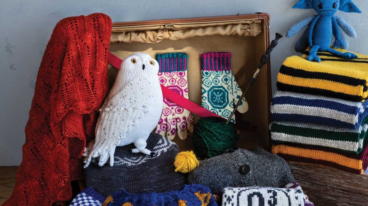Examples of Harry Potter knitted items, surrounded by yarn.