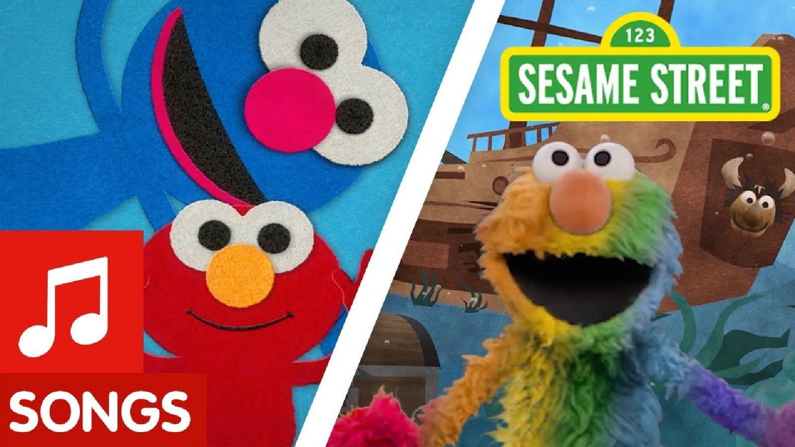 Promotional image for Sesame Street, depicting Elmo singing educational songs.