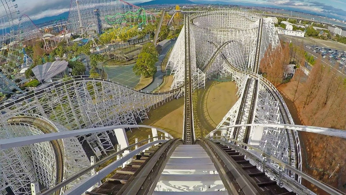 A photo of the White Cyclone wooden roller coaster in Japan.