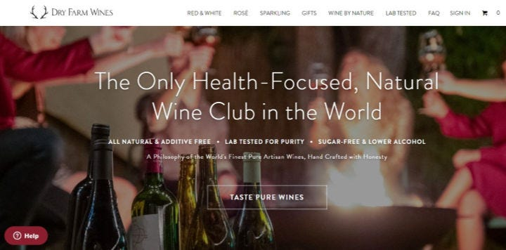 Dry Farms Wine website.