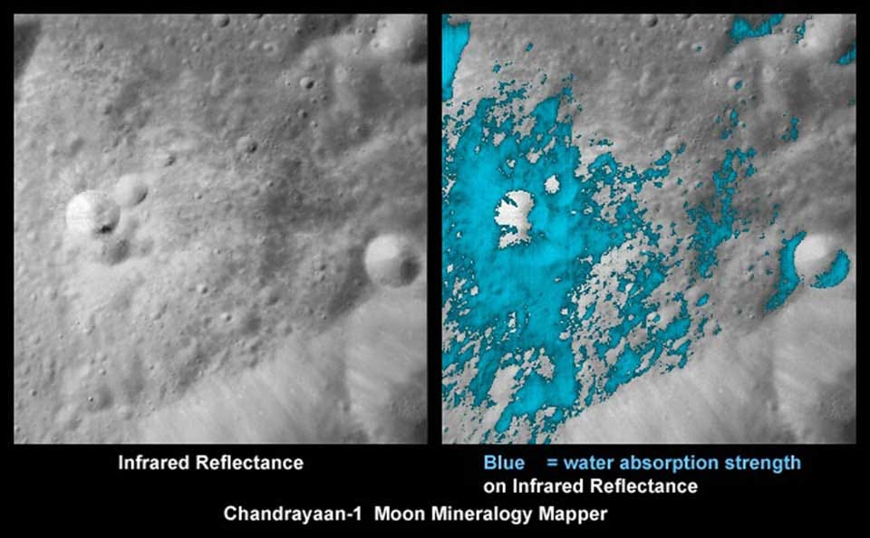 Lunar map images showing ice deposits on the moon.