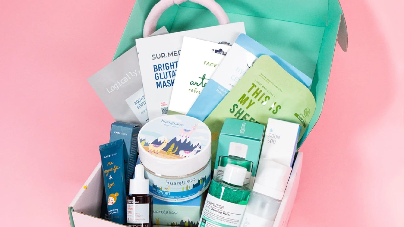 A Facestory gift box filled with different skincare items.