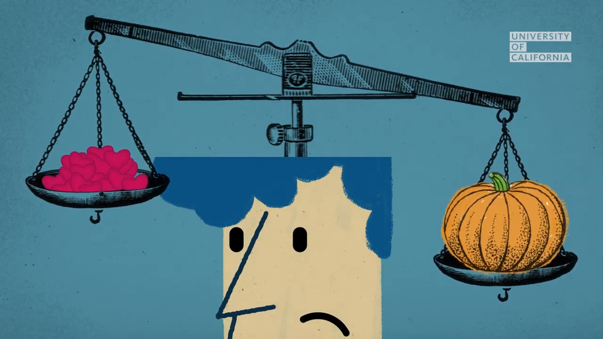 An illustration showing a balance scale weighing someone's positive and negative experiences.