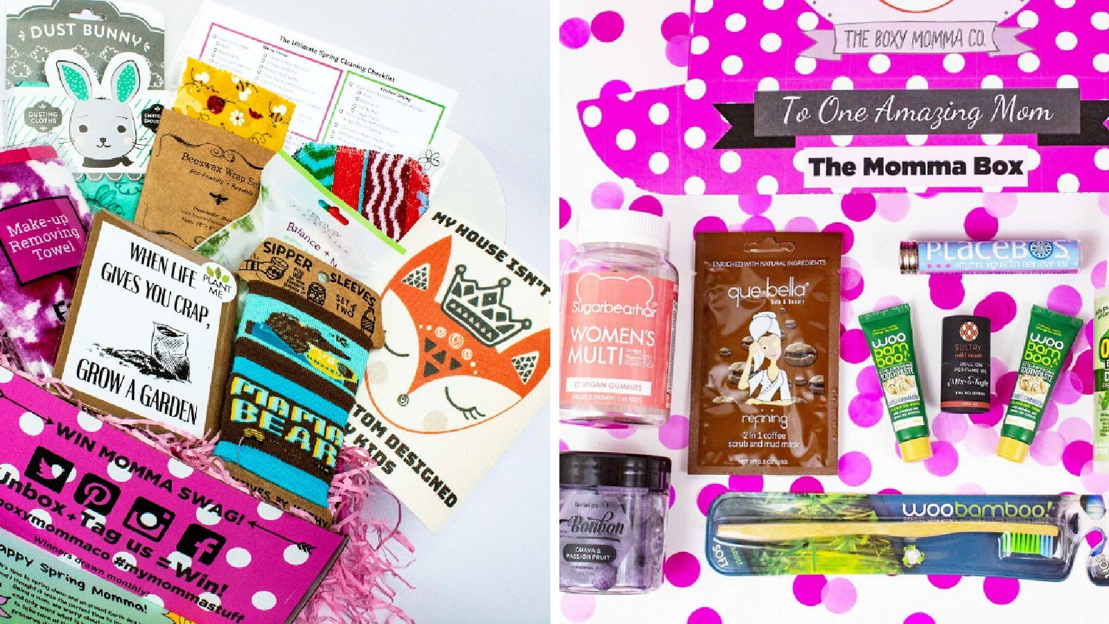 Examples of the variety of items found in The Boxy Momma boxes.