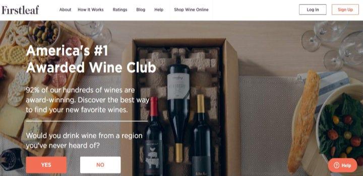 Firstleaf wine club's wine selecting quiz.