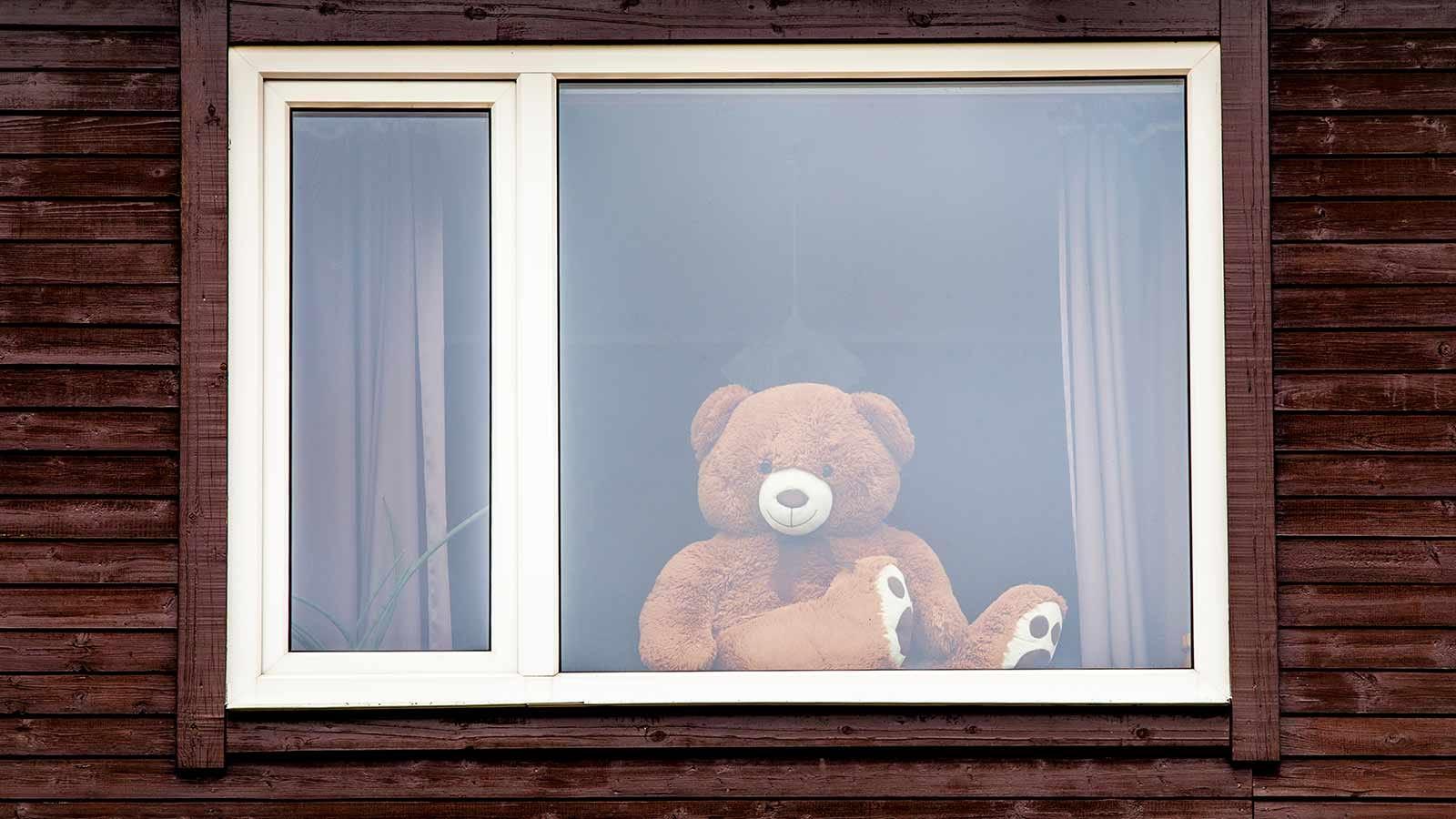 A teddy bear in a window.