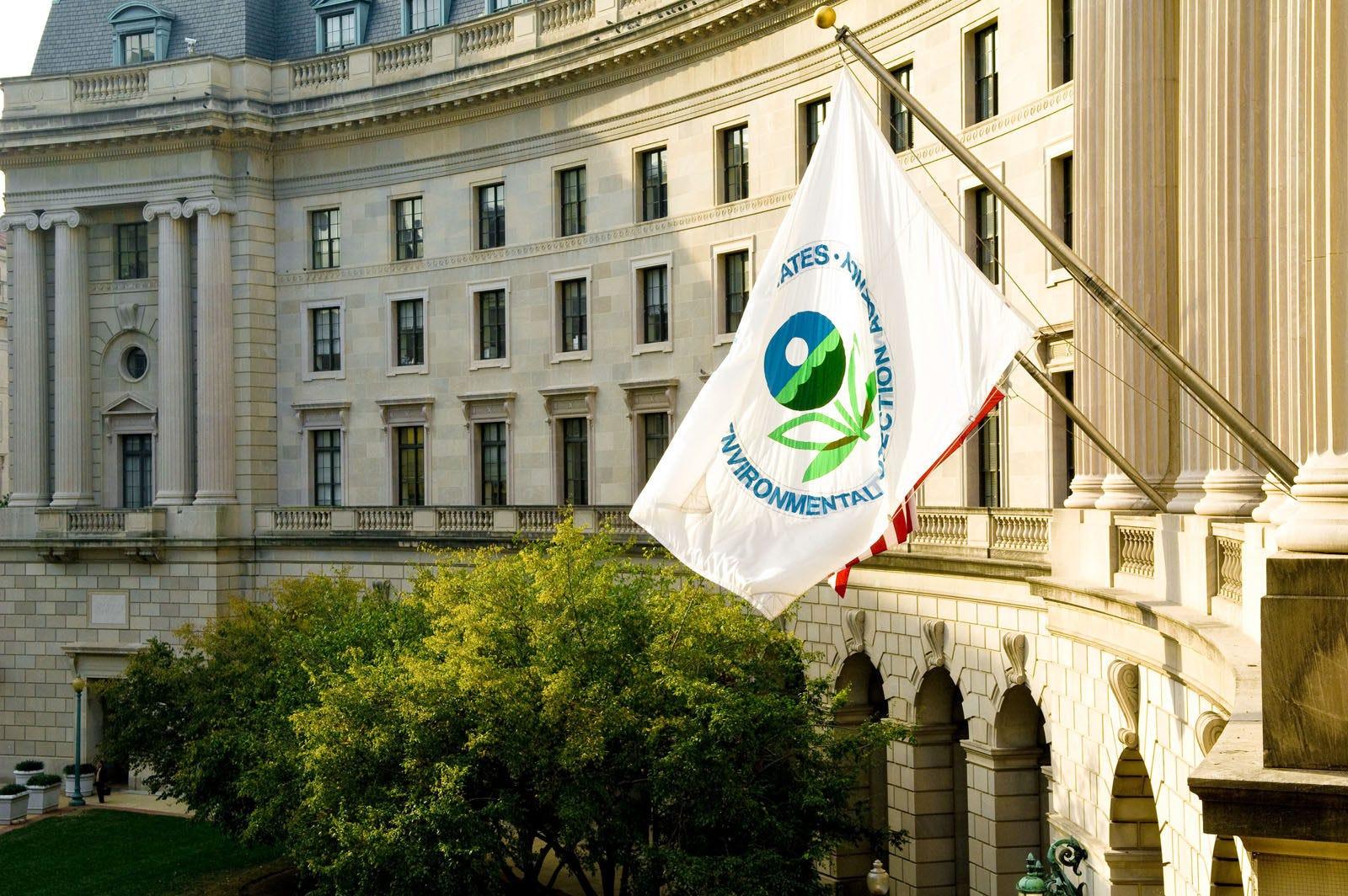 The EPA flag flying outside the EPA building in Washington, D.C.