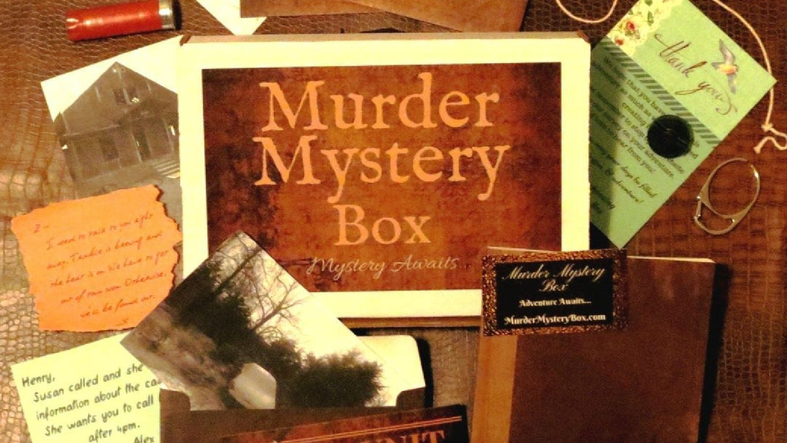 Contents of a Murder Mystery Box.