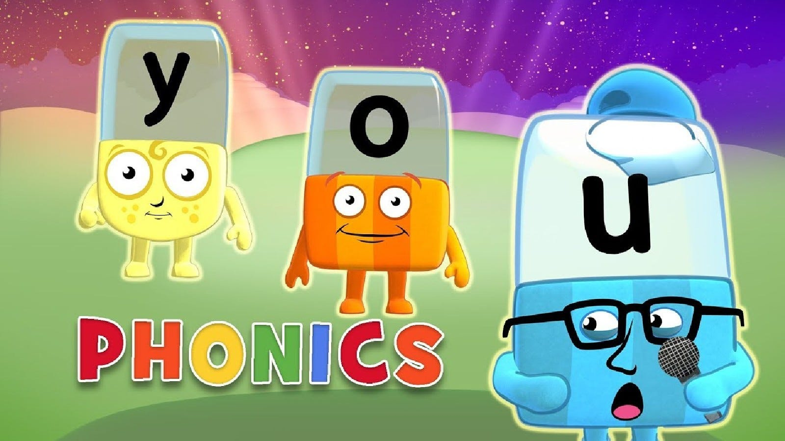 Promotional image for Alphablocks, depicting the blocks practicing phonics.