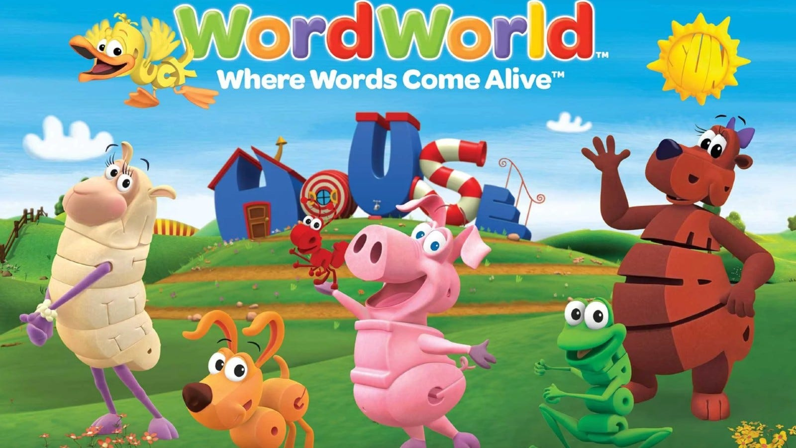 Promotional image for WordWorld, depicting the animal characters on the farm.