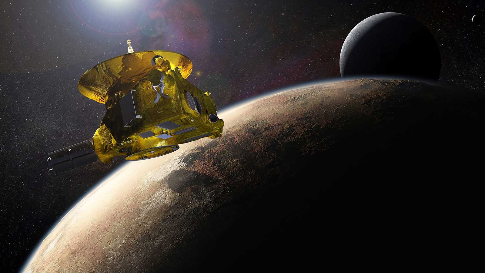 An artist's rendering of the New Horizons space probe approaching Pluto.