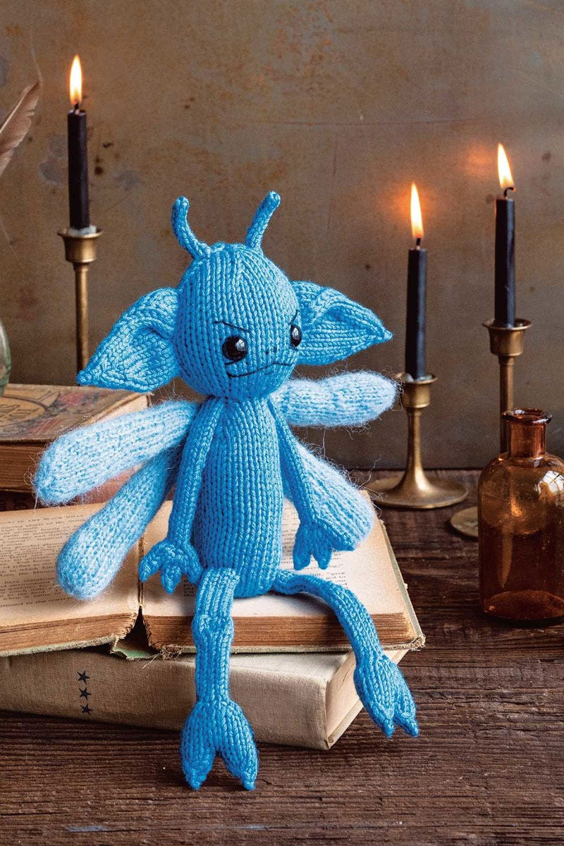Example of a Harry Potter inspired knit figure.