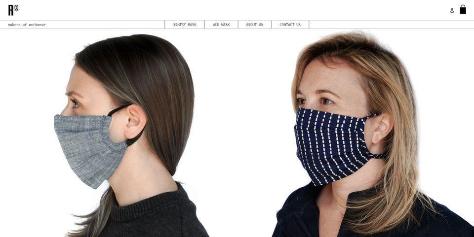 Two women wearing masks on the RendallCo website.