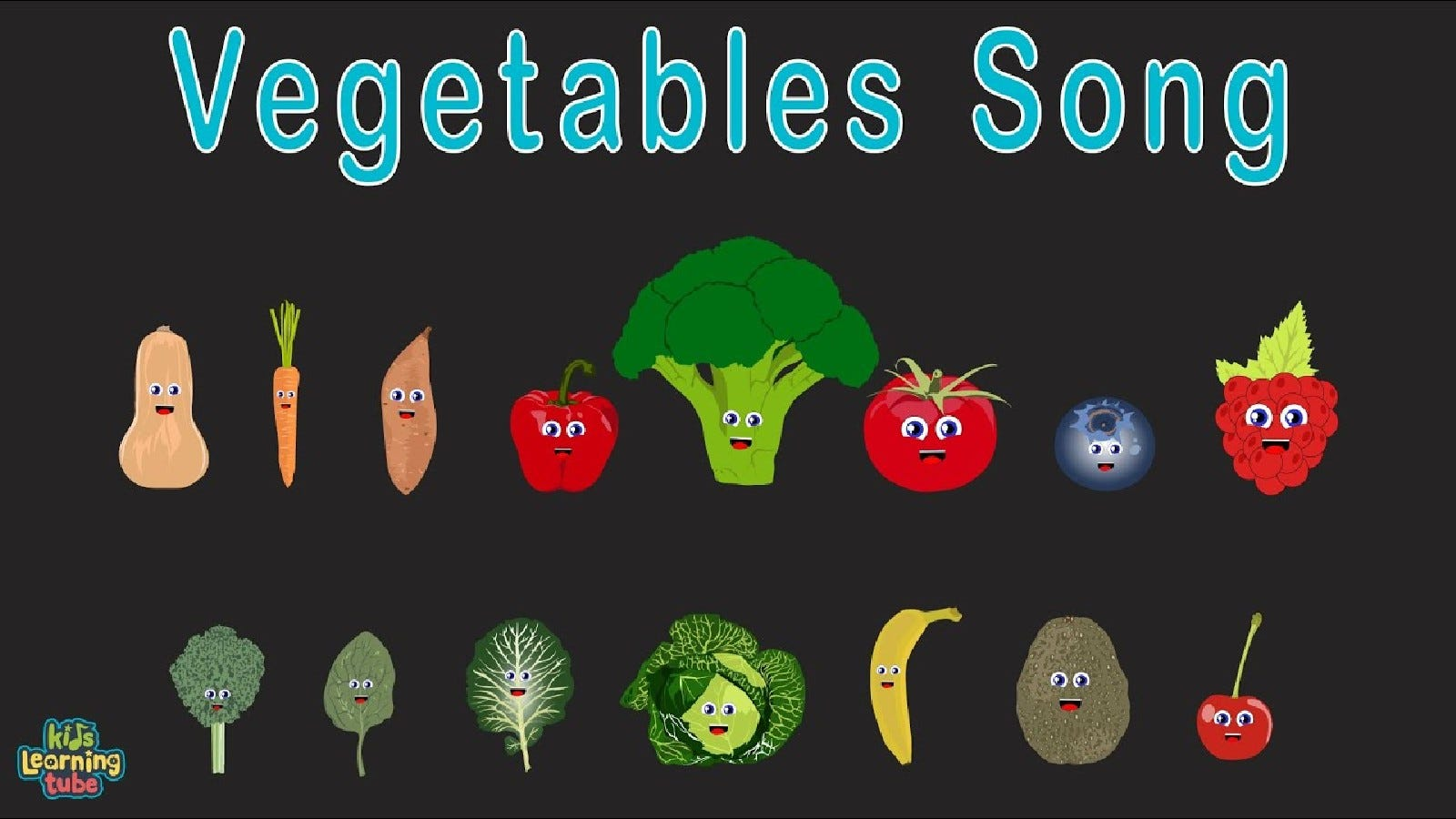 A promotional image for Kids Learning Tube, showing vegetables singing the vegetable song.